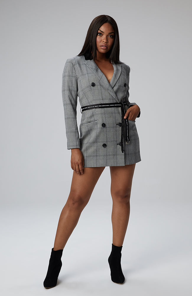 Kayla Plaid Blazer Dress