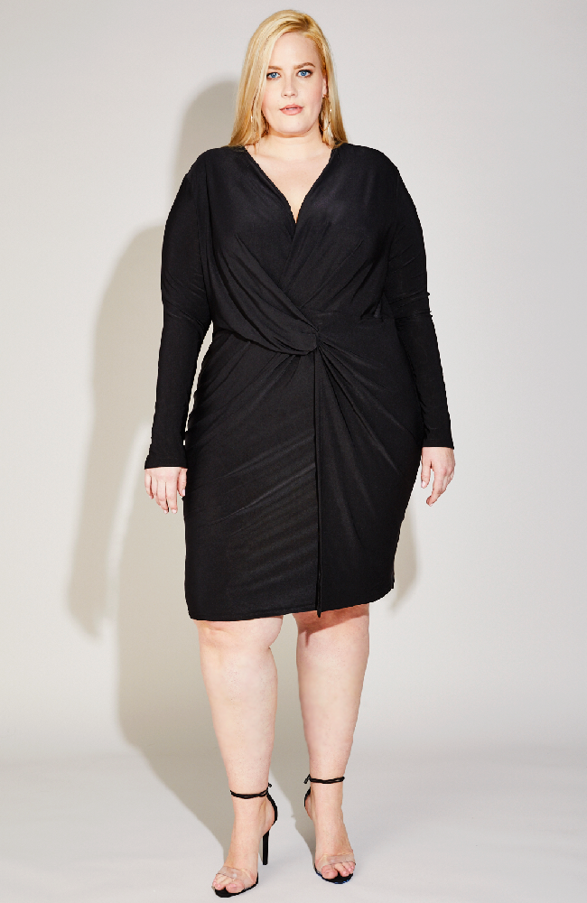Twist Front Dress in Black
