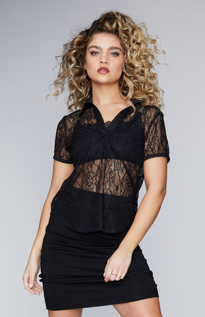 s-by-serena-model-wearing-lace-polo-shirt-front