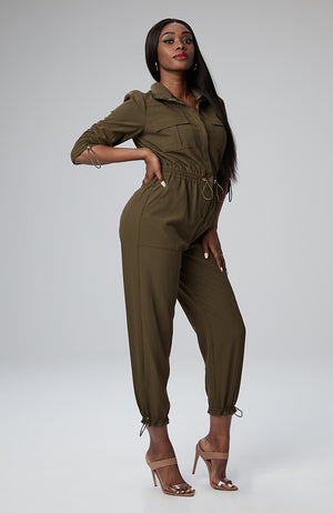 Seraya Utility Jumpsuit in Olive
