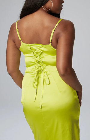 Sonya Cowl Neck Dress in Neon