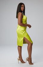 Load image into Gallery viewer, Sonya Cowl Neck Dress in Neon