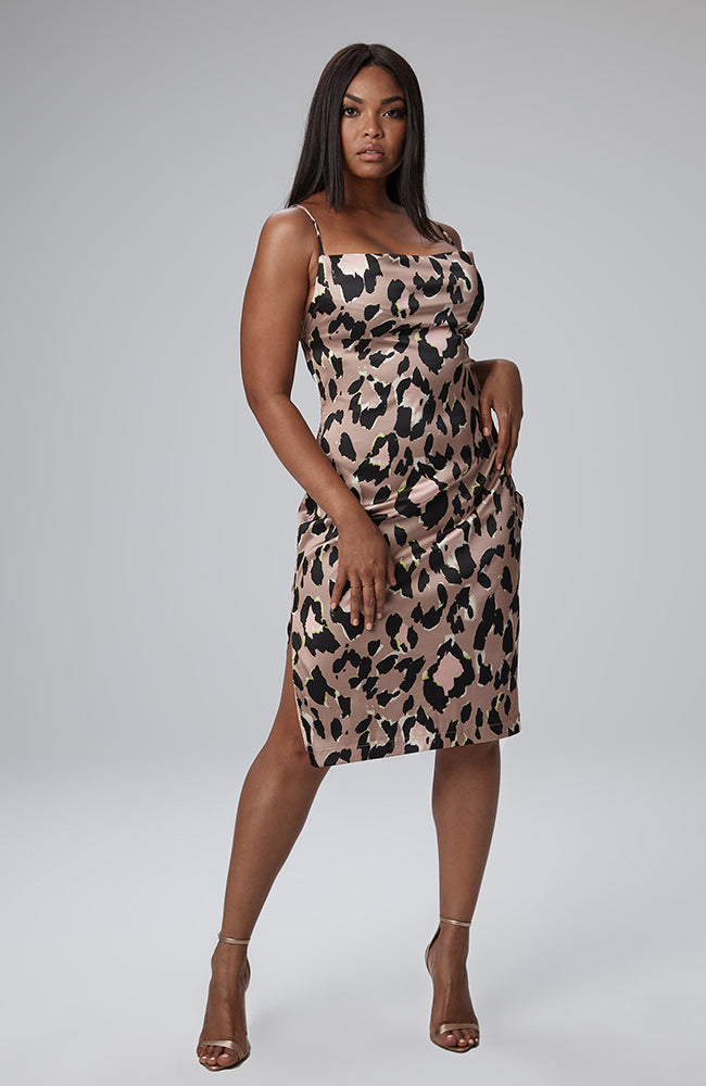 Sonya Cowl Neck Dress in Leopard