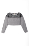 Weekend Cropped Sweatshirt in Black Mesh