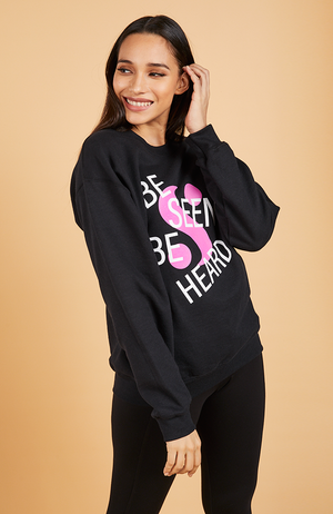 "Be Seen Be Heard ""S"" Logo Sweatshirt in Black"