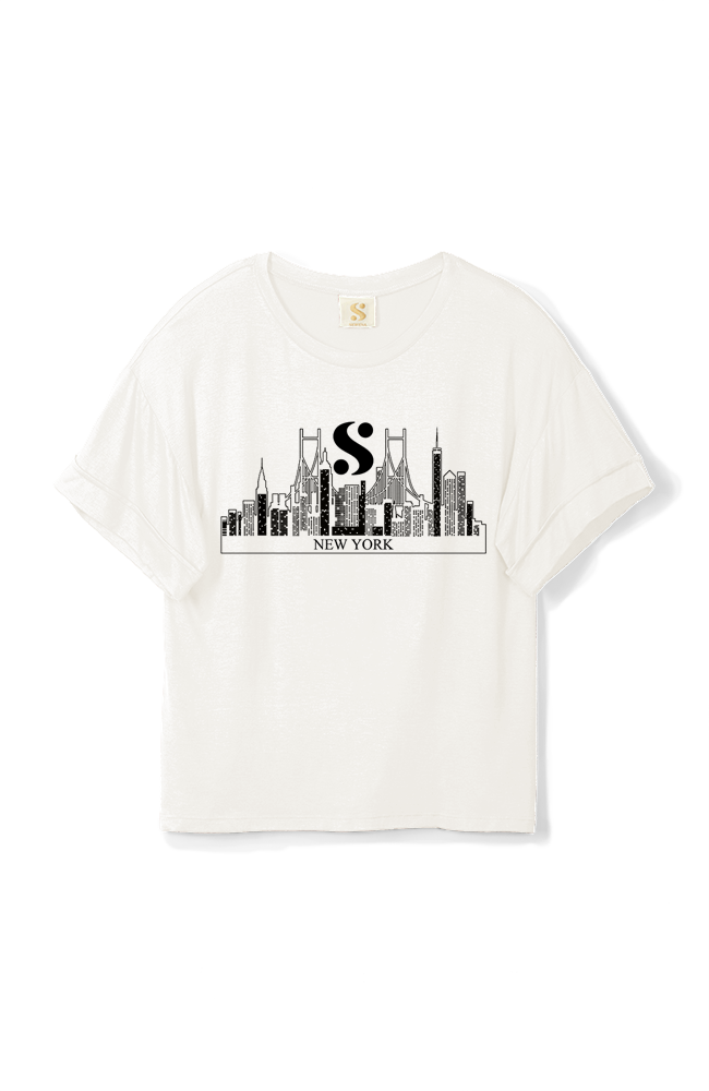 "Limited Edition ""S"" NYC Logo Tee in White"