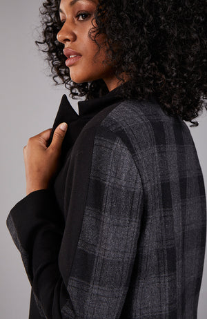 Plaid Colorblock Maxi Coat in Gray