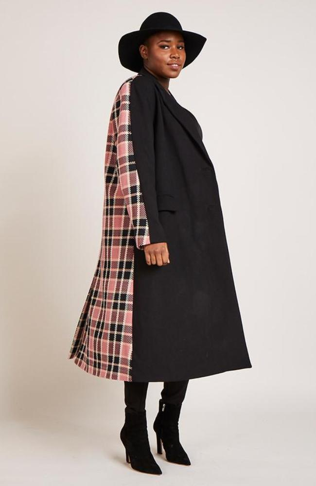 Plaid Colorblock Maxi Coat in Pink