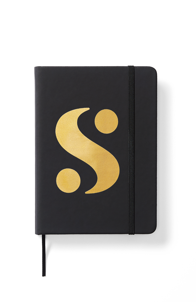 """S"" Logo Notebook in Black"