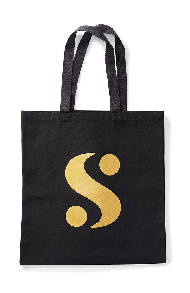 """S"" Logo Tote Bag in Black"