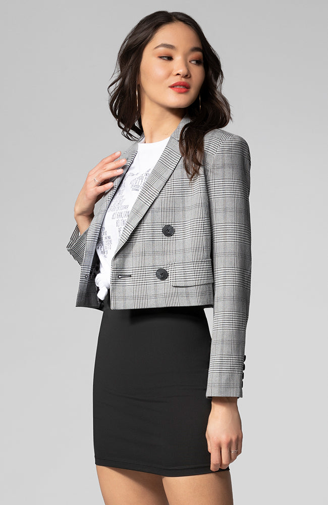 Alicia Plaid Cropped Jacket