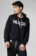 Load image into Gallery viewer, s-by-serena-model-wearing-self-made-unisex-hoodie-black