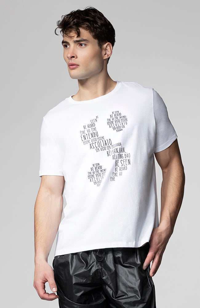 "Accent ""S"" Logo Unisex Tee in White"