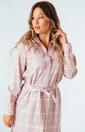 Checkmate Tie-Waist Shirt Dress