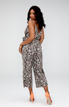 Yvonne Python Wide Leg Cropped Jumpsuit