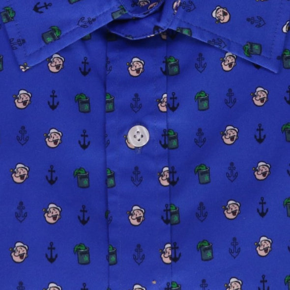 "Popeye ""I YAM WHAT I YAM"" Short Sleeve Button Down Shirt"