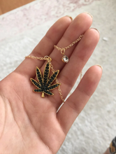Load image into Gallery viewer, 18K Gold plated Colored Cannabis Leaf Necklace