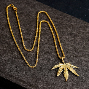18K Cannabis Leaf Gold plated Chain Necklace