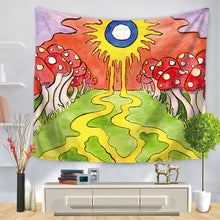 Load image into Gallery viewer, Vivid Sunny Mushroom Patch Trippy Tapestry