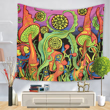 Load image into Gallery viewer, Funky Mushroom Patch Trippy Tapestry