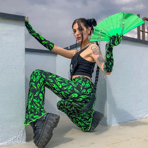 Green Ghost Flames Flare Pants