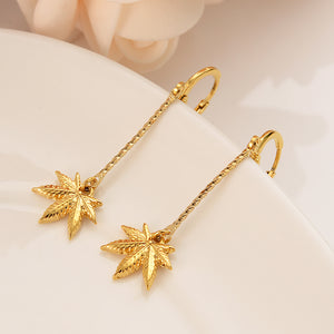24K Gold plated Cannabis Leaf Drop Earrings