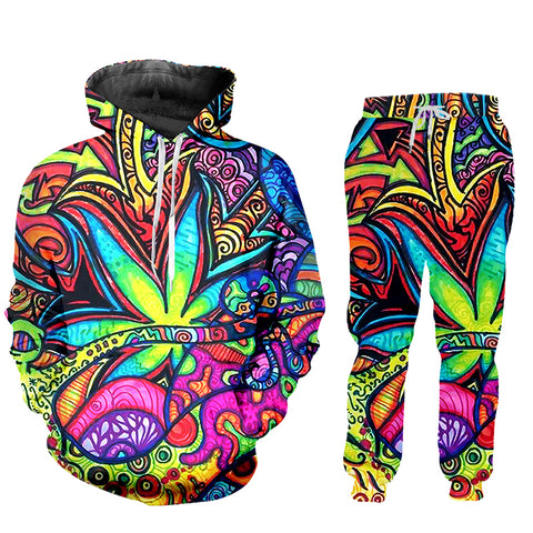 Exclusive Psychedelic Trippy Leaf Hoodie Tracksuit (Sold as Set or Separately)