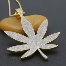 Load image into Gallery viewer, 24K Gold/.925 Silver-plated Crazy Bling Large Leaf Chain Necklace