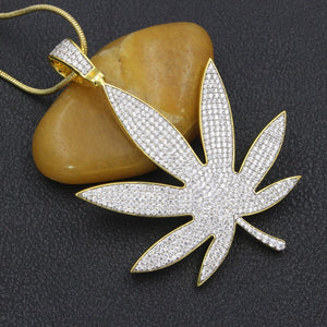 24K Gold/.925 Silver-plated Crazy Bling Large Leaf Chain Necklace