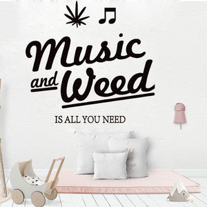 Music And Weed Great Match Wall Vinyl