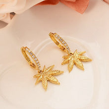Load image into Gallery viewer, 24K Cannabis Leaf Gold plated Earrings