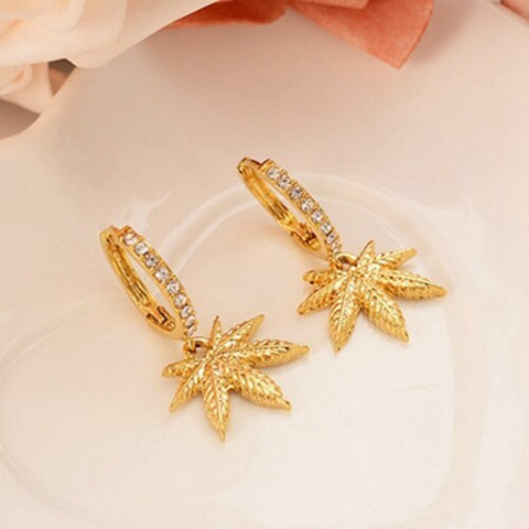24K Cannabis Leaf Gold plated Earrings