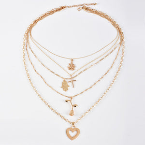 18K Gold Plated Boho Stacked Leaf Necklace