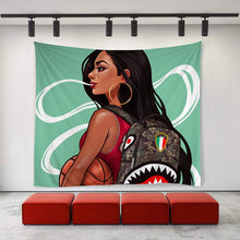 Load image into Gallery viewer, Smoke and Hoop Contemporary Museum Wall Tapestry