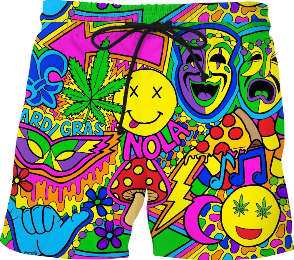 Nawlins Psychedelic Beach Shorts