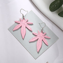Load image into Gallery viewer, Leather Cannabis Leaf Vintage Earrings