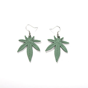 Leather Cannabis Leaf Vintage Earrings