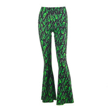 Load image into Gallery viewer, Green Ghost Flames Flare Pants