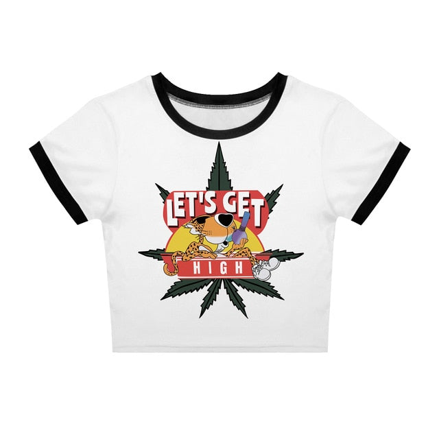 Let's Get High Chester Crop Top