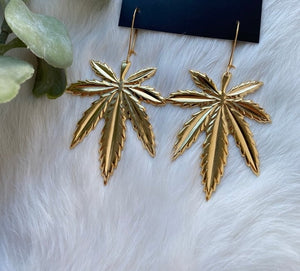 Bold Gold Large Leaf Earrings