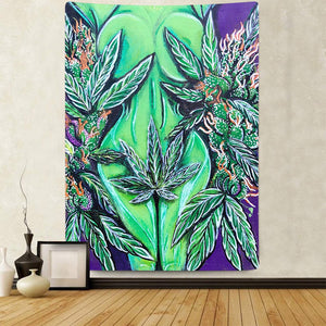 Green Leaf Goddess Tapestry