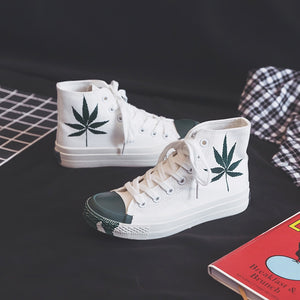 High Top Painted Leaf Women's Shoes