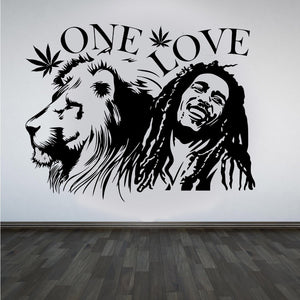 "Wall Stickers, 2 sizes available Bob Marley Lion Zion ""ONE LOVE"" Marijuana Quote Wall Art Sticker"