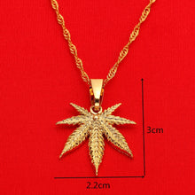 Load image into Gallery viewer, 24K Gold plated Weed Leaf Necklace