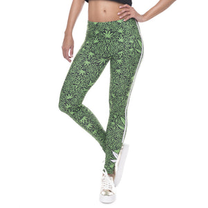 Weeds White Stripes Fitness Leggings