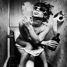 Load image into Gallery viewer, Unframed Smoking Girl on Toilet Canvas