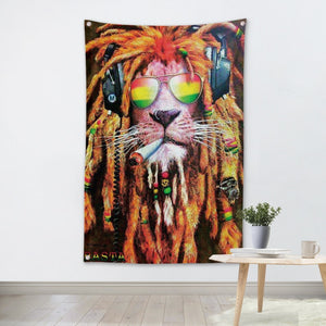 Hanging banner flag, Lion smoking a j 3*5FT 144cm*96cm