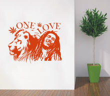 "Load image into Gallery viewer, Wall Stickers, 2 sizes available Bob Marley Lion Zion ""ONE LOVE"" Marijuana Quote Wall Art Sticker"