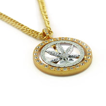 Load image into Gallery viewer, 18K Gold Plated Cannabis Leaf Medallion Chain
