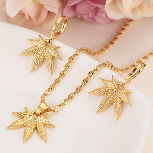 24k Gold Cannabis Leaf Necklace + Earring Set